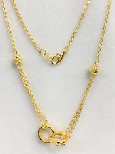 24K Solid Yellow Gold Love Lock Rings Pendant-Necklace. 18 Inches, 6.86 Grams