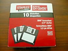 "3.5"" Floppy Disks Diskettes IBM Formatted DS/HD Staples Brand Opened Box of 9"