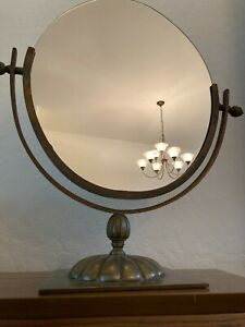 Art Deco Exquisite Antique Large Brass Oval Double-sided Mirror -MB87