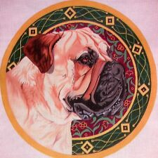 JG Dog Medallion by Barbara Russell HP Handpainted Needlepoint Canvas
