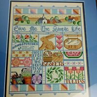 """Large Framed Completed Cross Stitch Sampler Finished 17"""" x 20"""" Pastel Country"""