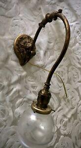 Art Nouveau Deco Brass Chandelier Pendant Gorgeous Art Glass Shade
