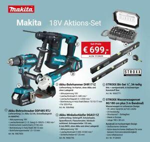 Makita 18V Akku Combo-Kit  DGA511Z DHR171Z DDF485RTJ  2x Akku 5Ah + Zubehör