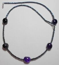 """Amethyst nuggets + Hematite beads, 21.5"""" necklace"""