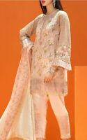 Indian Pakistani Salwar Kameez Suit Dress Party Wedding Designer Coir Peach