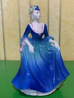 COALPORT LADY FIGURE DOLL LADY TAKING THE AIR BLUE DRESS PERFECT