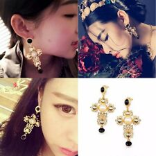 Fashion Lady Retro Cross Pearl Long Drop Dangle Earrings Bridal Jewelry Ear Stud
