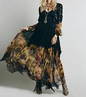 New Fashion Women's Long Sleeves Chiffon Dresses Large Party Flower Print Dress