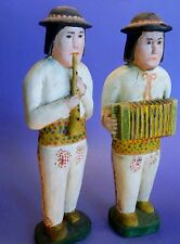 REDUCED!!!  Polish Folk Art Wood Carving of Accordian & Flute Musicians,1987