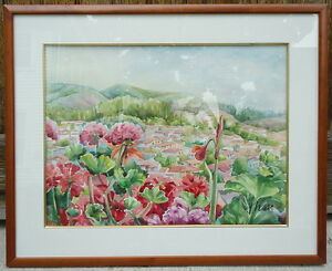 Large Framed Gallery Artist THM Watercolor Painting Red Florals Balcony Village