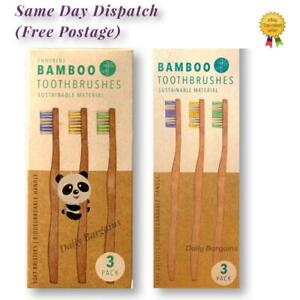 100%NATURAL BAMBOO/WOODEN TOOTHBRUSH ECO FRIENDLY BIODEGRADABLE HANDLE