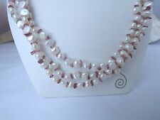 "ESTATE HONORA TRIPLE STRAND WHITE 19"" NECKLACE WITH TOURMALINE CHIPS STERLING"