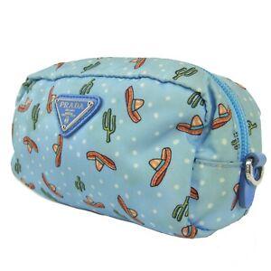 Auth PRADA Logos Cactus Tessuto Nylon Cosmetic Pouch Mini Bag Blue 19380bkac
