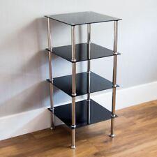 4 Tier Glass Unit Shelf Black Glass Modern Corner Display Side Table Furniture