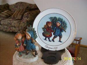 "1981 Christmas Memories ""Sharing The Christmas Spirit"" Plate & Figurine Avon"