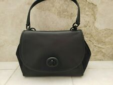 Genuine New Coach Black Pebble Leather and Suede Turnlock Shoulder Satchel
