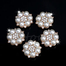 Pearl Rhinestone Buttons Wedding Dress DIY Flatback Buttons Embellishment 5Pcs