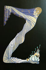 Erte 1982 Alphabet Series -  Z -Veiled LADY in PEARLS Matted Print First Edition
