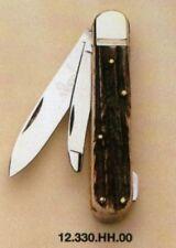 """HUBERTUS GERMAN HUNTING POCKET FOLDING KNIFE 3.15"""" BLADE w. GUTTING BLADE / STAG"""