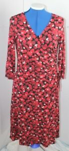 PHASE EIGHT Red Black Floral Bandage Stretch Bodycon Wiggle Dress UK 12