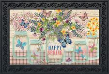 """Happy Spring Mason Jar Floral Doormat Indoor Outdoor 18"""" x 30"""" Briarwood Lane"""