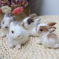 Mini Realistic Cute White Plush Rabbit Fur Lifelike Bunny Simulation Model Toy
