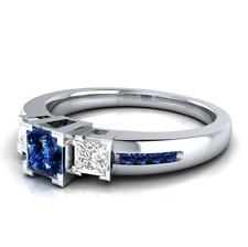 925 Silver Jewelry Blue & White Sapphire Women Fashion Wedding Ring Size 8