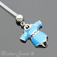 BLUE JUMPSUIT BIO FLEX FLEXIBLE PREGNANCY MATERNITY NAVEL BELLY BUTTON BAR RING