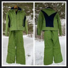 Vtg Mens Medium SKYR Scandia Lime Green Ski Jacket Snow Bibs Pants Snowboard