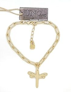 NEW UNO de 50 Freedom Collection Gold Take Me Dragonfly Chain Link Bracelet
