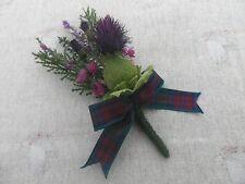 SCOTTISH WEDDING BUTTONHOLE~RUSTIC~ HEATHER/THISTLE~TARTAN RIBBON