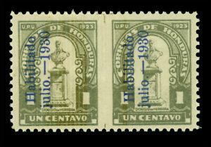 "HONDURAS 1930 Dionisio Herrera ""HABILITADO"" ovpt. 1c IMPERF BETWEEN PAIR Sc#290v"