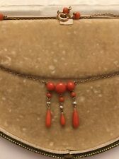 Antique  Very Pretty Coral And Pearl Necklace Drop Pendant Yellow Gold