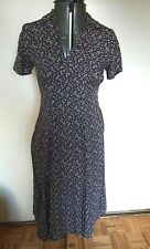 Laura Ashley 90s navy dark delicate floral print shift dress sz Petite small