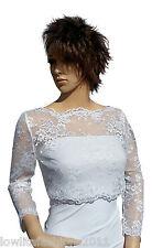 Womens White Lace Wedding 3/4 sleeve Bolero, Jacket Sizes 8 to 18