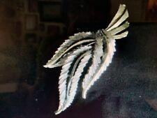 Signed BSK Vintage Silver Tone Leaf Brooch