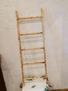 Deko Holz Leiter Farbe Natur geflammt Höhe 1200mm Breite 40cm 5 prossen