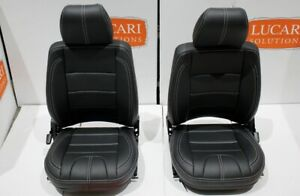 Black grained vinyl white stitch front seats Fit Land Rover Defender TD5 TDI