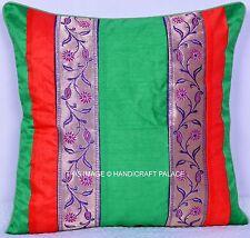 "16"" Indian Brocade Silk Patchwork Beautiful Cushion Cover Home Decor Sofa Sham"