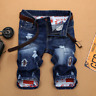 US Men's Ripped Skinny Biker Jeans Destroyed Frayed Pants Denim Shorts Trousers