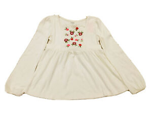 $26 Discontinue Gymboree Girl Size 9 Cotton White Long Sleeve Embroidery Flowers