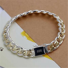 1PC Sterling Silver Gold Plated 10MM Men Chain Bracelet Bangle Jewelry Gift