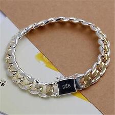 10mm Sterling Gold Silver 10MM Square Agraffe Men Chain Charm Bangle Bracelet CN