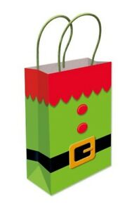 12 x Christmas Elf Party Bags Kraft Paper Gift Bag Handle Recyclable Loot Bag