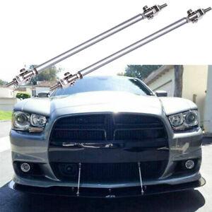 2pc Bumper Lip Splitter Strut Rod Tie Support Bars for Dodge Charger Challenger