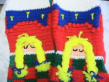 SLEEPING GIRL UNDER QUILT 3D STOCKING hand-made Christmas Holiday crochet by me