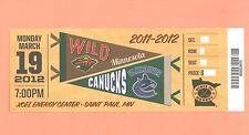 Vancouver Canucks  Minnesota Wild 3-19-12 ticket stub UNused GEM MINT condition