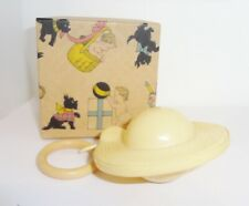 Vintage Antique Saucer Shaped Celluloid Baby Rattle w/Cardboard Graphics Box