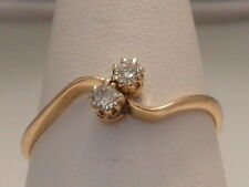 448F VINTAGE LADIES 18CT GOLD 0.15 CARAT SI1/H DIAMOND DRESS RING SIZE T