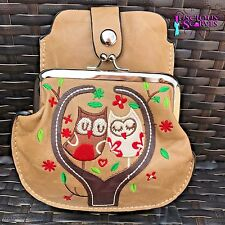 Beige Owl Purse Small bag with Mobile Phone Holder Long Cross Body Strap